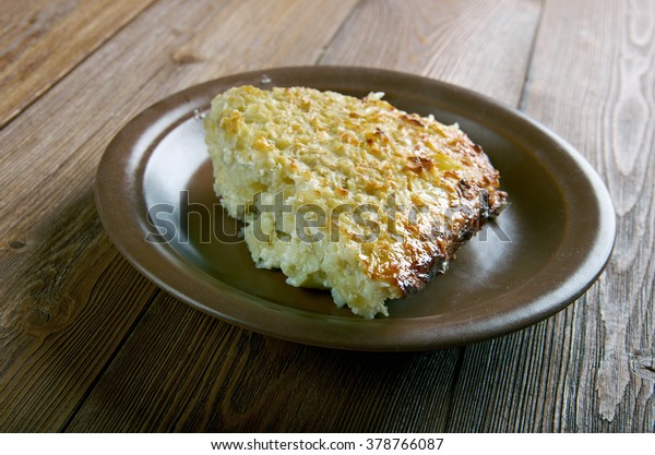 Kugelis Baked Potato Puddingmain Ingredients Potatoes Stock Photo Edit Now 378766087