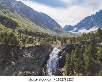 Kuiguk waterfall. Altai mountains landscape. Russian nature