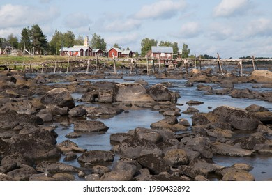 Kukkola, Sweden - August 16  2019: Romantic village Kukkula with wooden pier