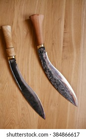 kukr a knife with the wooden handle
