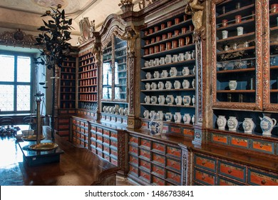 KUKS, CZECH REPUBLIC - MAY 16, 2019: The interior of the historic pharmacy in the hospital Kuks from 1692