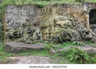 KUKS FOREST SCULPTURES, CZECH REPUBLIC, AUGUST 29, 2016 - Baroque reliefs by Matthias Bernard Braun