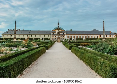 Kuks Hospital and garden in East Bohemia,Czech republic, with Holy Trinity Church.Pearl of Baroque. Used to be highly popular health resort with mineral spring.Famous sculptures by Matthias Braun. - Shutterstock ID 1889061862