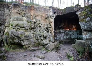 KUKS,CZECH REPUBLIC - DECEMBER 25.2017: Grotto of Saint Hubert, patron of animals. Bas-relief depicting three kings going to Bethlehem, Matthias Braun's nativity, December 25.2017 Kuks, Czech Republic