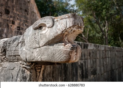 Kukulcan representation at the Ballcourt in Chichen Itza, Mexico. Kukulcan is the Maya representation of the god Quetzalcoatl, the plumed serpent god.