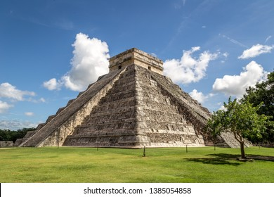 Kukulkan pyramid in Chichen Itza on the Yucatan Peninsula, Mexico, America