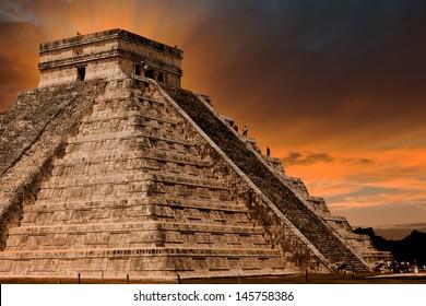 Kukulkan Pyramid in Chichen Itza Site, Yucatan, Mexico