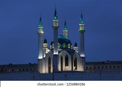 Kul Sharif Mosque in Kazan in the evening light in Russia