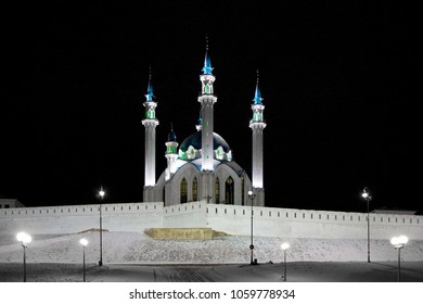 Kul Sharif mosque in Kazan Kremlin in the night, Tatarstan, Russia.