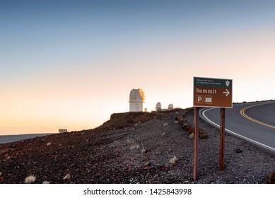 KULA, HAWAII - JUN 8:  Scene at the top of Mt. Haleakala summit, with the Haleakala Observatory, on June 8, 2019.