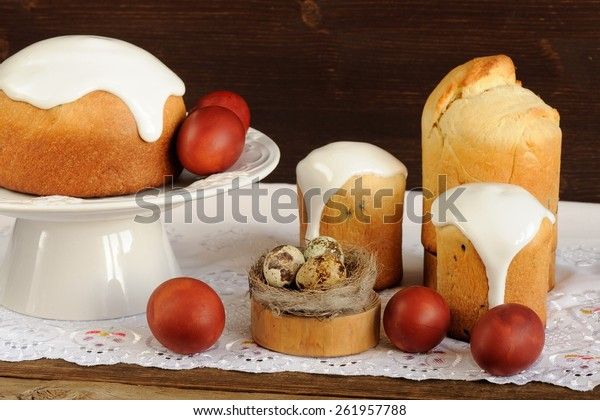 Kulichi Traditional Russian Easter Cakes Dyed Stock Photo