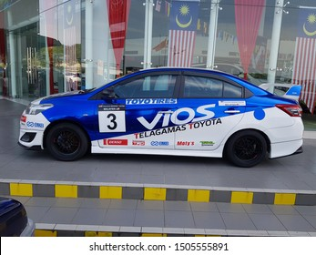 Kulim, Kedah. Sept 16 2019. Tuning race car pf Toyota Vios at Toyota car sales showroom.