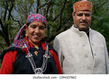 Kullu, Himachal Pradesh - 15.10.2015: A beautiful couple dressed up in traditional Kullu attire posed for my camera with a smile.
