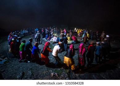 Kullu, Himachal Pradesh, India - August 31, 2018 : Nati Dance in himalayas, Himachali Traditional Dance