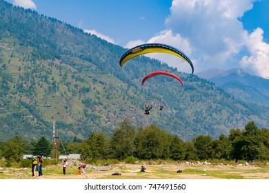 KULLU, HIMACHAL PRADESH, INDIA - March 2107: Kullu is a popular hill station for paragliding  in Kullu District, Himachal Pradesh, India.