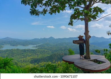 Kulonprogo, Yogyakarta, Indonesia 12th of May 2018. People was enjoying beautiful view of Kalibiru tourism village in Menoreh hill, Yogyakarta, Indonesia
