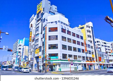 Kumagaya, Japan-April 6, 2019: Scenery of the station front of Kumagaya Station north exit in Kumagaya-shi, Saitama. There are a shopping street and a commercial building in front of the station.