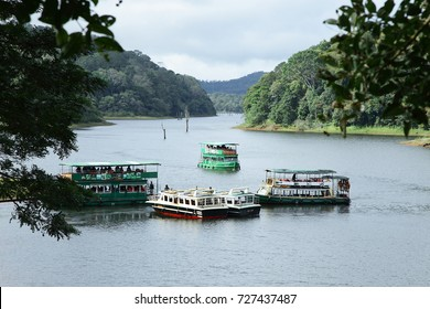 KUMALI - KERALA- INDIA - OCTOBER 01, 2017: Tourists enjoying boating in  Periyar National Park, Thekkady, Kerala.Editorial image only.