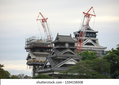 Kumamoto Castle is being repaired due to damange during the earthquake