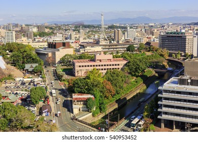 KUMAMOTO - DEC,22 : Landscape of Kumamoto city Where is the capital city Prefecture on the island of Kyushu.That was damaged by earthquake and now repairing. JAPAN DEC,22 2016