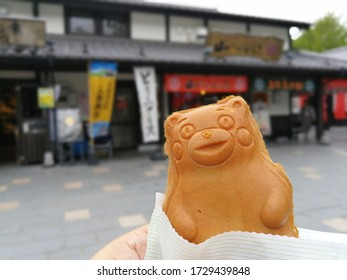 Kumamoto, Japan. 21 Sep 2018. Dessert that outside is made of flour in the shape of the mascot of Kumamoto city named Kumamon. Inside of dessert are many kinds of fillings such as red beans, custard.