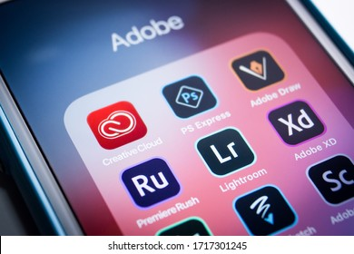 Kumamoto, Japan - Apr 17 2020 : Adobe CreativeCloud & other apps on iPhone. CreativeCloud is a set of applications / services from Adobe inc. that gives subscribers access to a collection of softwares