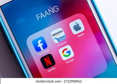 Kumamoto, Japan - Apr 23 2020 : Image of FAANG Big Tech icons (Facebook, Amazon, Apple, Netflix & Google) on iPhone screen. FAANG is an acronym /a buzzword.