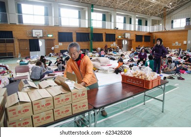 KUMAMOTO, JAPAN - APRIL 16: Earthquake survivors stay at the evacuation center of Mashiki Gymnasium, Mashiki, Kumamoto. on the april 16,2016 in kumamoto , japan