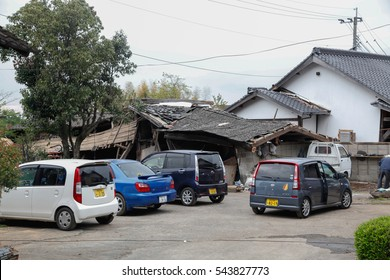 kumamoto , japan -  April 17  : The mountain town of Minamiaso, in southern Japan, has seen buildings and roads destroyed by earthquake and a landslide on the april 17,2016 in kumamoto , japan