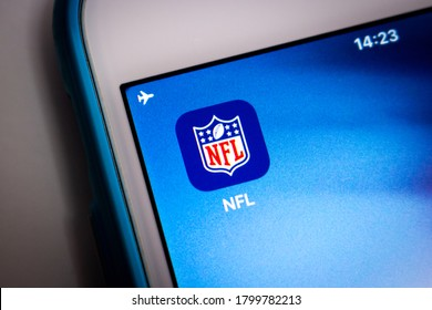 Kumamoto, Japan - Aug 17 2020 : NFL (The National Football League), a pro American football league consisting of 32 teams, on iOS. NFL is one of the 4 major North American professional sports leagues