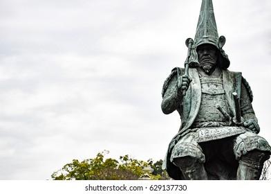 Kumamoto, Japan -December 15, 2009: Statue of Kato Kiyomasa, Daimyo of Kumamoto, Japan