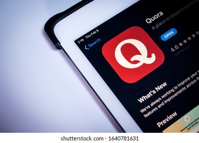 Kumamoto, Japan - Feb 5 2020: Quora app in App Store on iPad screen. Quora is an US Q&A service where questions are asked, answered, and edited by users, either factually or in the form of opinions.