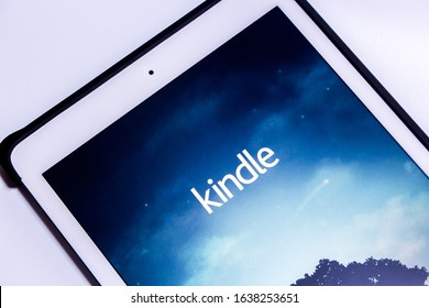 Kumamoto, Japan - Feb 6 2020 : Kindle app, e-book reader by Amazon, on iPad in white background. From Amazon website or Kindle Store, an online e-book store by Amazon, users can purchase an e-book.