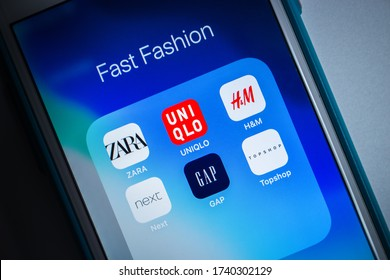 Kumamoto, Japan - May 7 2020 : Brands (ZARA, UNIQLO, H&M, Next, GAP & TOPSHOP) of fast fashion on iOS. A term used by fashion retailers for designs that flow from the catwalk quickly to capture trends