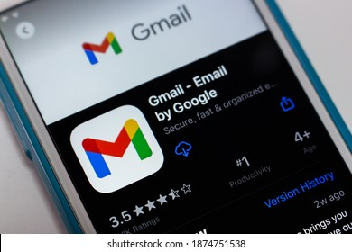 Kumamoto, Japan - Nov 17 2020 : The 2020 new logo of Gmail, a free email service developed by Google, on App Store on iPhone. By 2018, Gmail had 1.5 billion active users worldwide