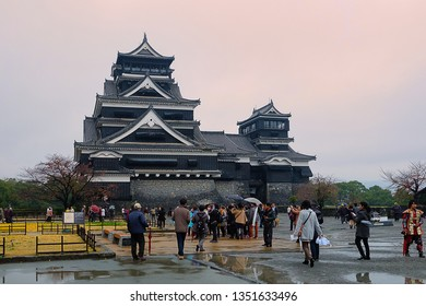 Kumamoto, Japan - November 30, 2014 : Tourists visiting Kumamoto Castle, one of the most impressive castles in Japan.