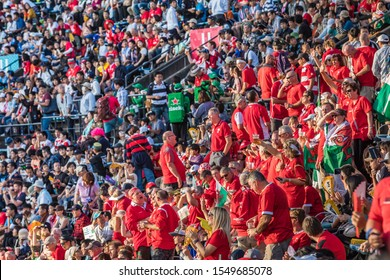 Kumamoto, Japan, October 2019 - World Cup Rugby Welsh fans before the event.