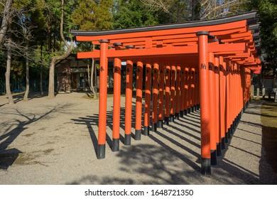 KUMAMOTO, KYUSHU, JAPAN - JANUARY 29, 2020: Inari shrine at Suizenji Jojuen park a Japanese ornamental garden in Kumamoto