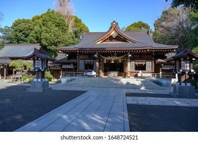 KUMAMOTO, KYUSHU, JAPAN - JANUARY 29, 2020: Izumi Shinto Shrine at Suizenji Jojuen park a Japanese ornamental garden in Kumamoto