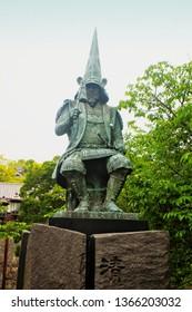Kumamoto ,Kyushu,Japan - May 10th,2015 : Lord of Kumamoto Statue names Kato Kiyomasa is Japanese warlord (Daimyo) who designed Kumamoto castle (Kumamoto-jo) where is one Japan's most iconic castle