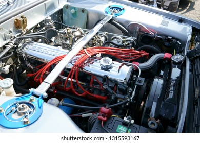 Kumamoto prefecture in Japan,February 17, 2019,/The car engine introduced at the old car festival /Nissan's engine at the old car festival /Engine of the Skyline 2000 GT