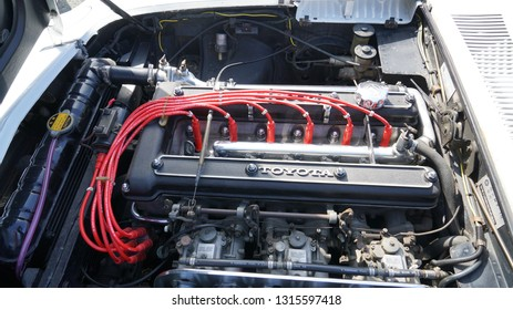 Kumamoto prefecture in Japan,The car engine introduced at the old car festival /Toyota's engine at the old car festival /Toyota 2000 GT engine