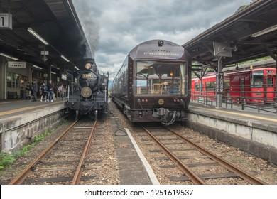 Kumamoto,Kyushu,Japan - October 19, 2018 : JR Kyushu Train SL Hitoyoshi Steam locomotive train and Cruise train Seven Star in Kyushu.