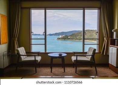 Kumano, Japan - May 5, 2017: Sea view room of traditional hotel in Kumano, Japan.