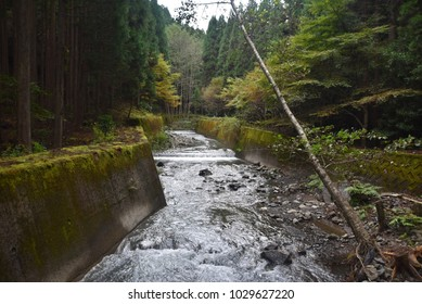Kumano Kodo storm water canal runs beside the 1000 year old Imperial Walking trail Wakayama,Japan
