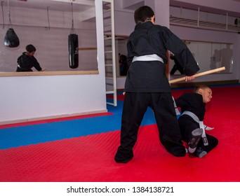 Kumanovo, Macedonian / 10 - 11 - 2016. Ninjitsu Training. The first priority to the ninja is to win without fighting.