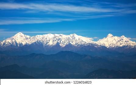 Kumaon Himalayan mountain range with notable peaks like Nandaghunti, Trishul, Nanda devi as seen from Binsar zero point Uttarakhand.