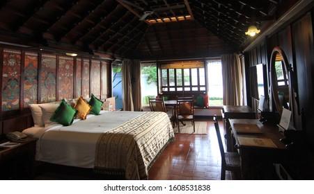 Kumarakom, Kerala / India - December 11 2015: A view of the interiors of the presidential suite at the Kumarakom Lake Resort