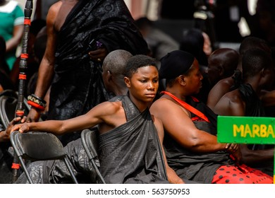 KUMASI, GHANA - JAN 16, 2017: Unidentified Ghanaian people at the memorial ceremony dedicated to the Queen mother of the Asante kingdom, who died on Nov 14, 2016 at the age of 111
