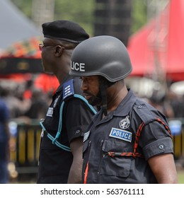 KUMASI, GHANA - JAN 16, 2017: Unidentified Ghanaian policeman at the memorial ceremony dedicated to the Queen mother of the Asante kingdom, who died on Nov 14, 2016 at the age of 111